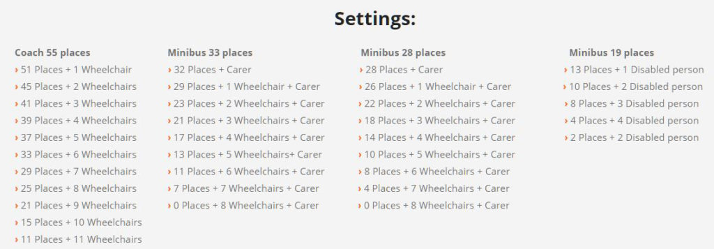 We have different options depending on the size of the buses for adapted transport